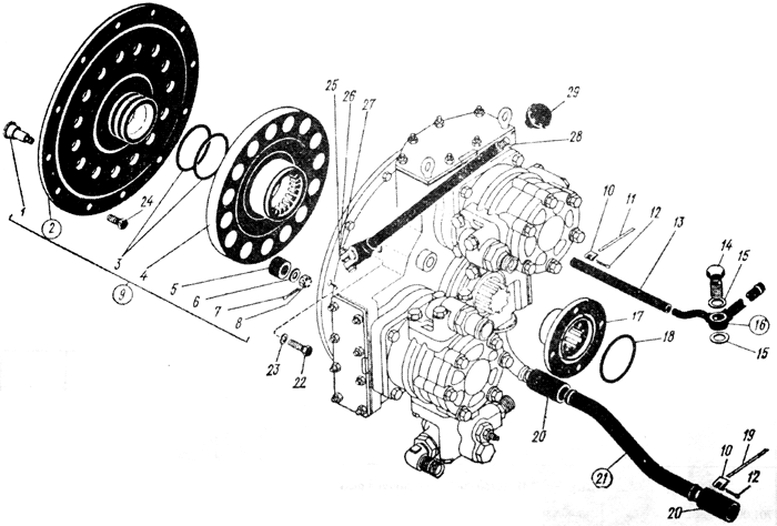 Установка редуктора с полужесткой муфтой Трактор К 700 A