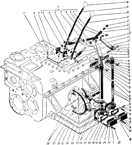 Привод управления муфтами раздаточного вала коробки передач Трактор К 700 A