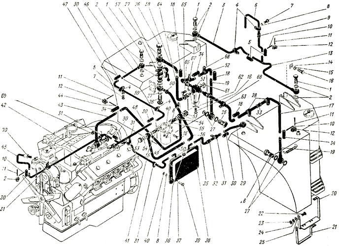 Система питания двигателя ЯМЗ-238 НБ Трактор К 700 A