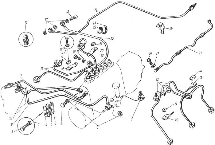 ЯMЗ 236 M : Топливопроводы