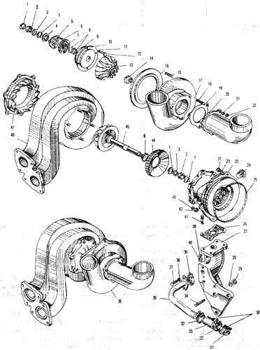 ЯMЗ 240 ПM2 : Турбокомпресср ТКР-11