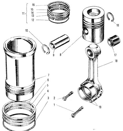 ЯMЗ 240 ПM2 : Поршень, шатун и гильза цилиндров