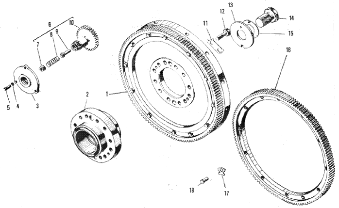 ЯMЗ 240 ПM2 : Маховик и механизм поворота