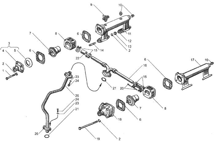 ЯMЗ 236 HE : Водяные трубы и термостаты