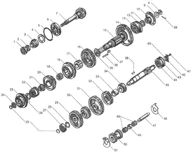 ЯMЗ 236 HE : Валы и шестерни коробки передач