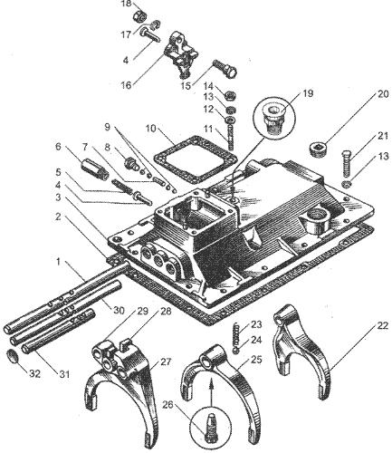 ЯMЗ 236 HE : Механизм переключения передач