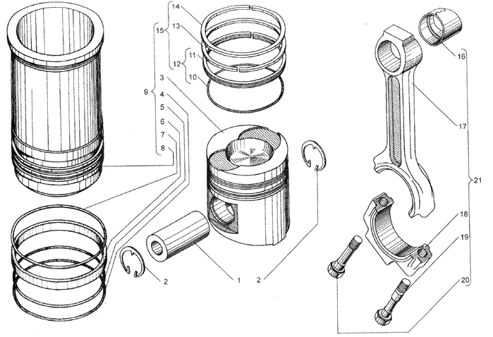 ЯMЗ 236 HE2 : Поршень и шатун