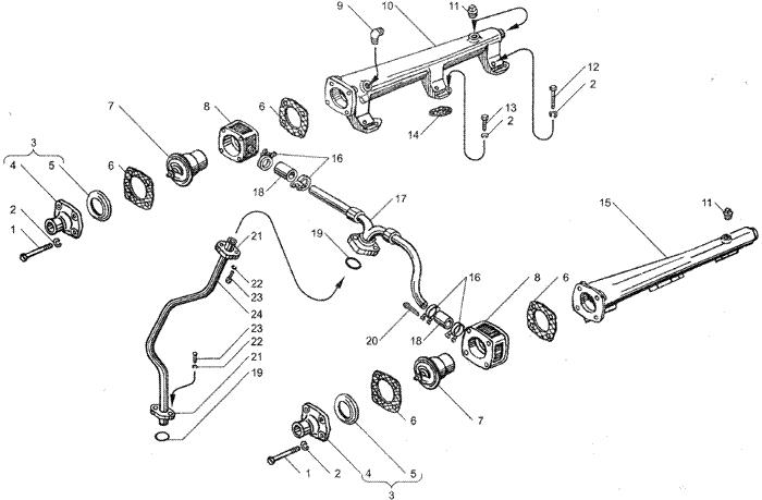 ЯMЗ 236 HE2 : Водяные трубы и термостаты