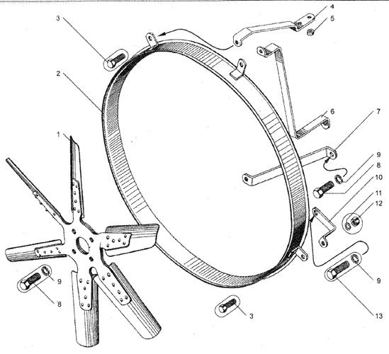 ЯMЗ 236 HE2 : Вентилятор и кожух вентилятора