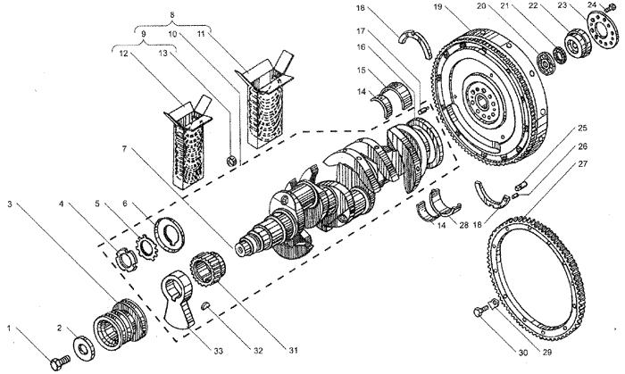 ЯMЗ 236 БE2 : Вал коленчатый и маховик