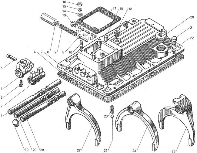 ЯMЗ 236 БE2 : Механизм переключения передач