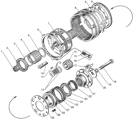 ЯMЗ 236 БE2 : Валы и шестерни демультипликатора