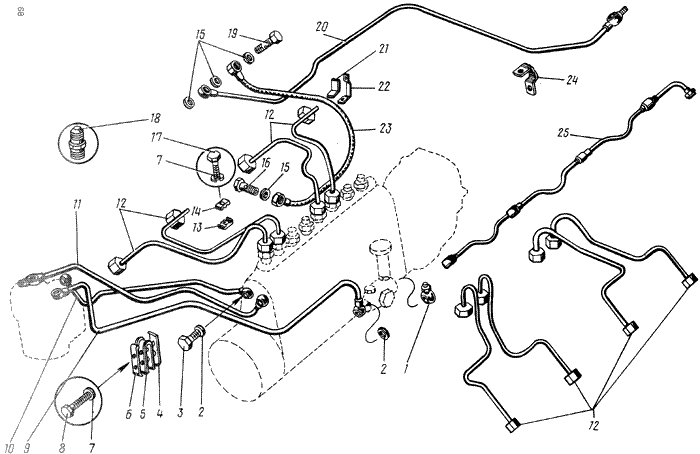 ЯMЗ 238 M : Топливопроводы