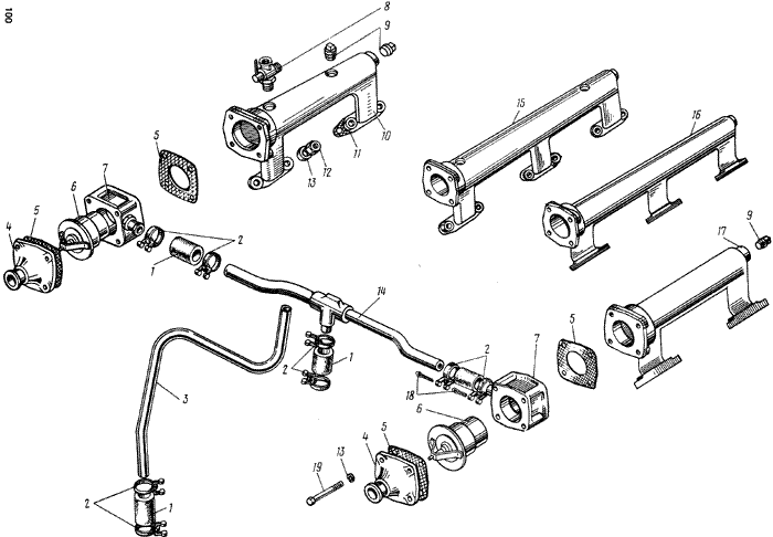ЯMЗ 238 M : Термостаты системы охлаждения