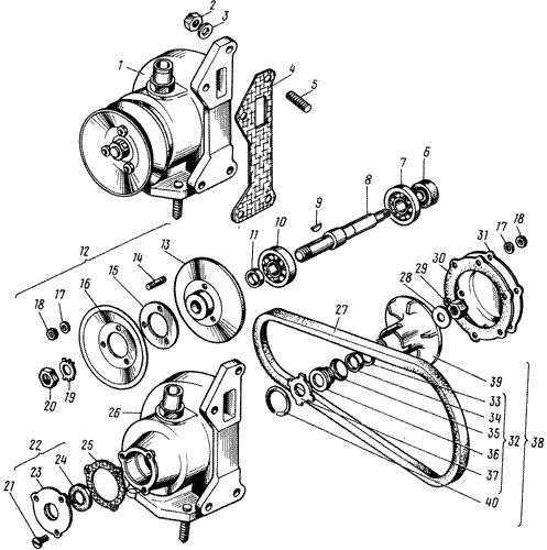 ЯMЗ 238 M : Водяной насос (выпуск до 1996г)