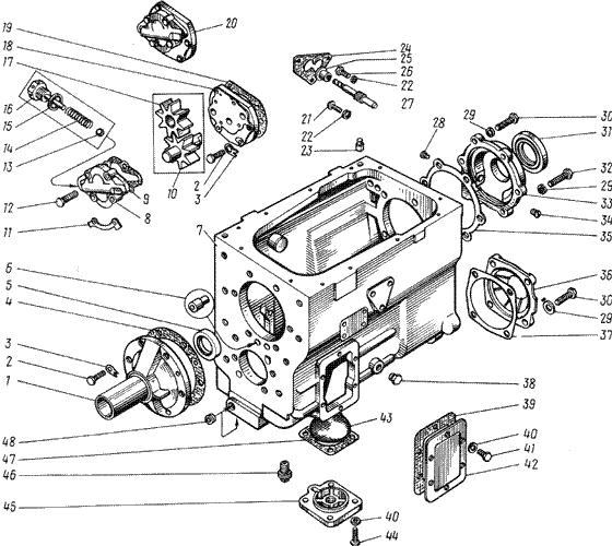 ЯMЗ 238 M : Картер и масляный насос коробки передач