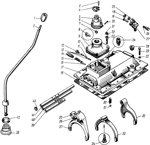 ЯMЗ 238 M : Механизмы переключения передач