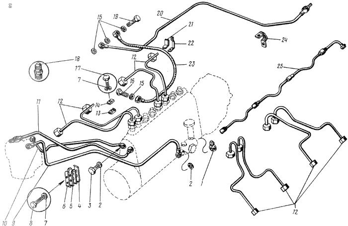 ЯMЗ 238 ГM : Топливопроводы