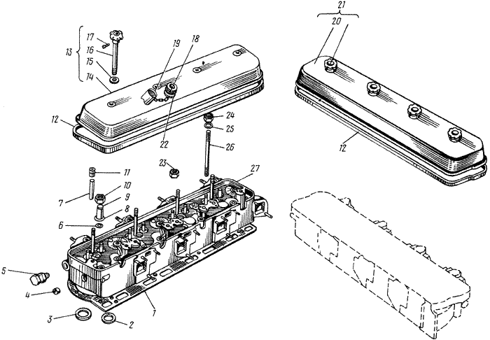 ЯMЗ 238 ГM : Головка цилиндров
