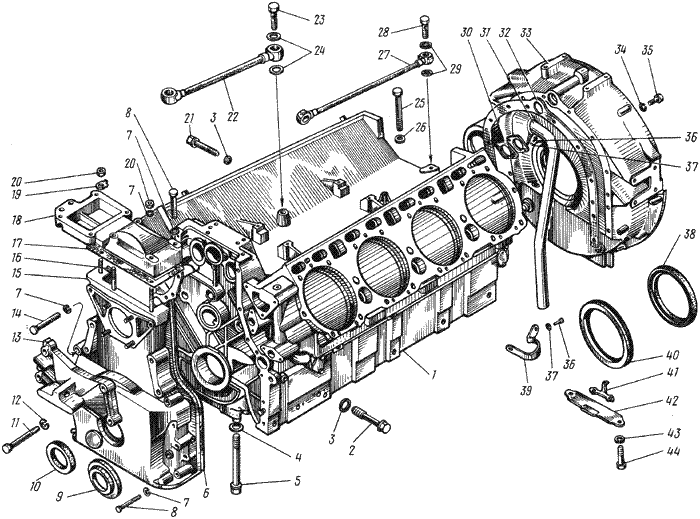 ЯMЗ 238 АM : Блок цилиндров