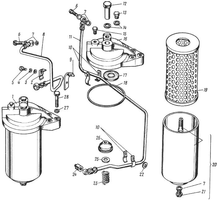 ЯMЗ 238 HД : Масляный фильтр турбокомпрессора
