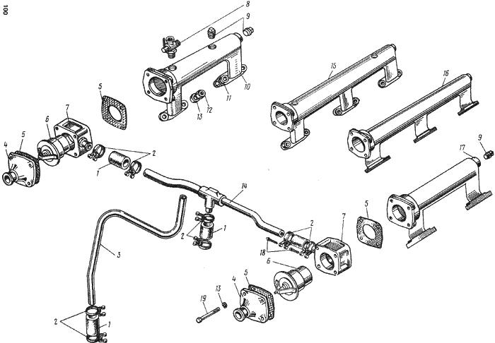 ЯMЗ 238 HД : Термостаты системы охлаждения
