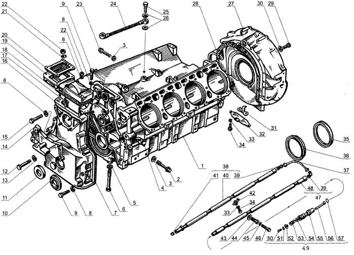 ЯMЗ 238 Б : Блок цилиндров