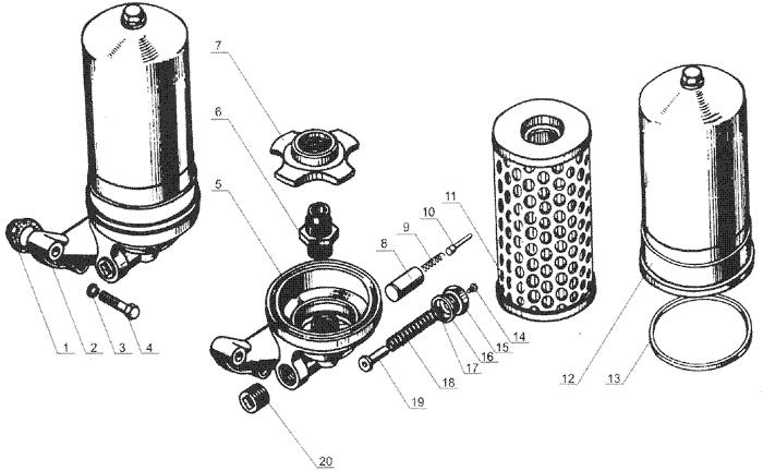 ЯMЗ 238 Б : Фильтр грубой очистки масла
