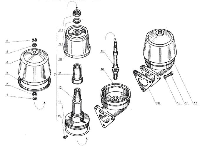 ЯMЗ 238 Б : Фильтр центробежной очистки масла