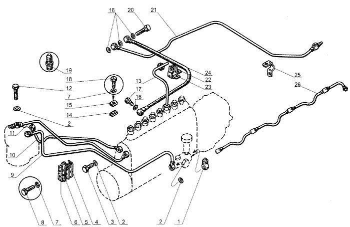 ЯMЗ 238 Б : Топливные трубопроводы