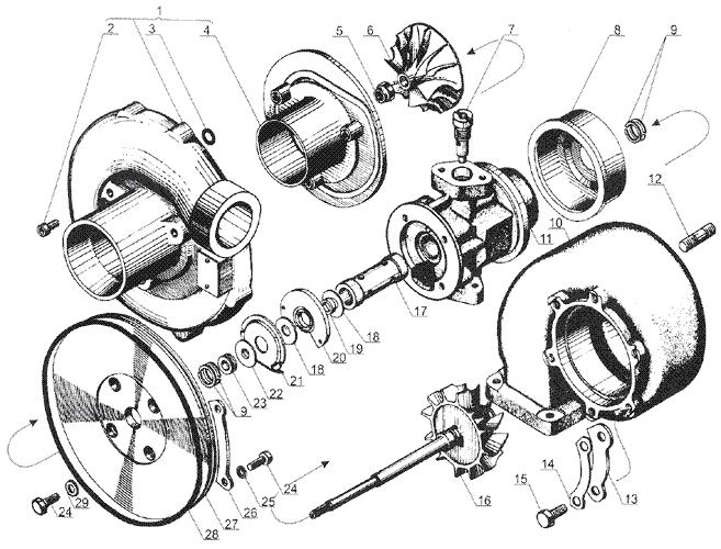 ЯMЗ 238 Б : Турбокомпрессор