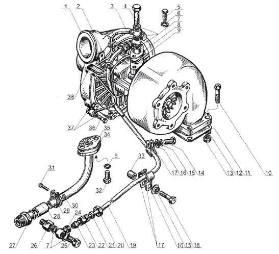 ЯMЗ 238 Б : Трубки подвода и отвода масла турбокомпрессора