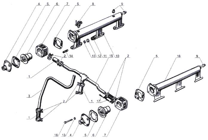ЯMЗ 238 Б : Термостаты системы охлаждения и водяные трубы