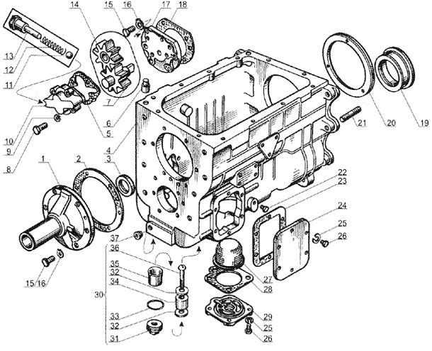 ЯMЗ 238 Б : Картер и масляный насос коробки передач ЯМЗ 238А и