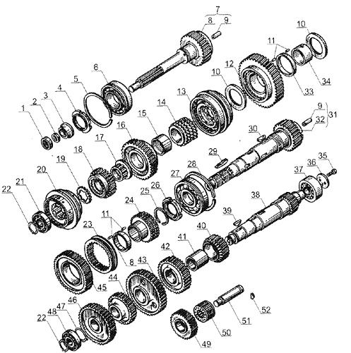ЯMЗ 238 Б : Валы и шестерни коробки передач ЯМЗ 238А и ЯМЗ 236