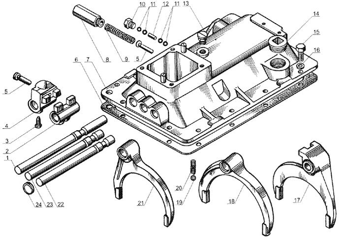 ЯMЗ 238 Б : Механизмы переключения передач  ЯМЗ 238А и ЯМЗ 236