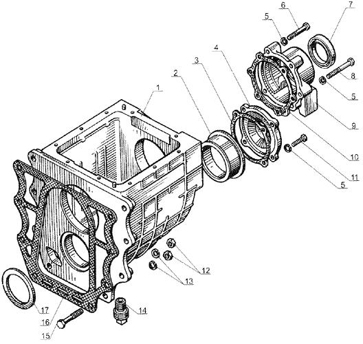 ЯMЗ 238 Б : Картер понижающей передачи