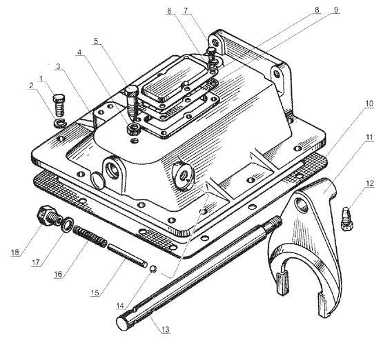ЯMЗ 238 Б : Механизм переключения понижающей передачи