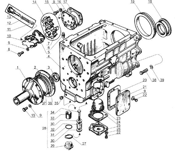 ЯMЗ 238 Б : Картер и масляный насос коробки передач ЯМЗ 238М4