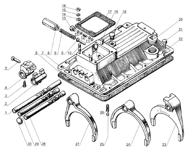 ЯMЗ 238 Б : Механизмы переключения передач  ЯМЗ 238М4 и ЯМЗ 23