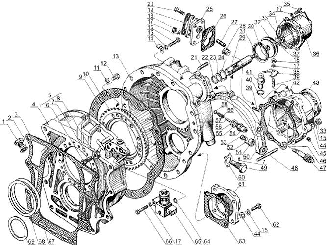 ЯMЗ 238 Б : Картер демультипликатора