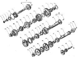 ЯMЗ 236 БE : Валы и шестерни коробки передач