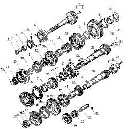 ЯМЗ 238 Д Валы и шестерни коробки передач ЯМЗ 238А и ЯМЗ 238Б